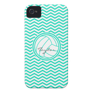 Personalized Volleyball; Aqua Green Chevron Case-Mate iPhone 4 Cases