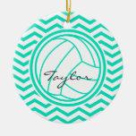 Personalized Volleyball; Aqua Green Chevron Ceramic Ornament