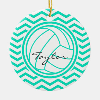Personalized Volleyball; Aqua Green Chevron Double-Sided Ceramic Round Christmas Ornament