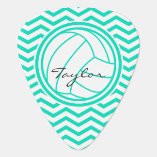 Personalized Volleyball; Aqua Green Chevron Guitar Pick