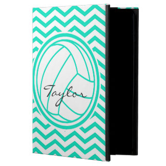 Personalized Volleyball; Aqua Green Chevron iPad Air Case