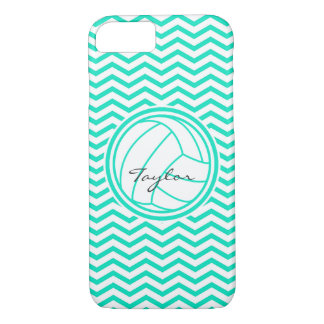 Personalized Volleyball; Aqua Green Chevron iPhone 8/7 Case