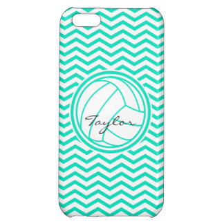 Personalized Volleyball; Aqua Green Chevron iPhone 5C Covers
