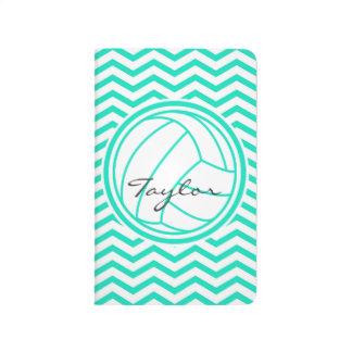 Personalized Volleyball; Aqua Green Chevron Journal