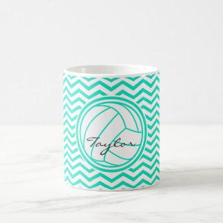 Personalized Volleyball; Aqua Green Chevron Mugs