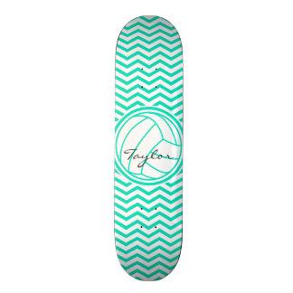 Personalized Volleyball; Aqua Green Chevron Skateboard Deck