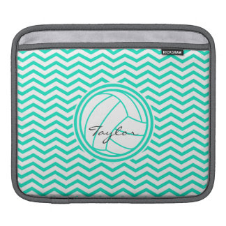 Personalized Volleyball; Aqua Green Chevron Sleeve For iPads