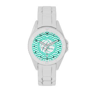 Personalized Volleyball; Aqua Green Chevron Watches