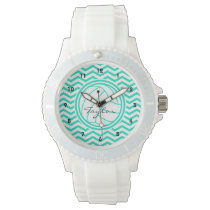 Personalized Volleyball; Aqua Green Chevron Watch