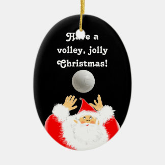 personalized volleyball christmas Double-Sided oval ceramic christmas ornament