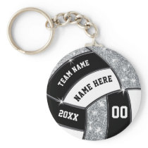 Personalized Volleyball Gift Ideas, Black, White Keychain