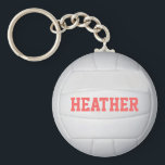 "Personalized Volleyball Keychain<br><div class=""desc"">Customize this volleyball keychain by changing the player name,  font or text color.</div>"