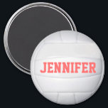 """Personalized Volleyball Magnet<br><div class=""""desc"""">Customize this volleyball magnet by changing the player name,  font or text.</div>"""