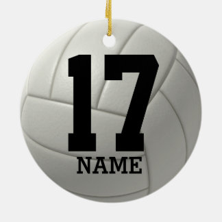 Personalized Volleyball (name and team number) Ceramic Ornament