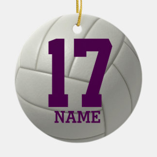 Personalized Volleyball (name and team number) Christmas Ornaments