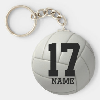Personalized Volleyball (name & number) Basic Round Button Keychain