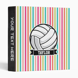 Personalized Volleyball on Colorful Stripes Binders