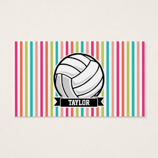 Personalized Volleyball on Colorful Stripes Business Card