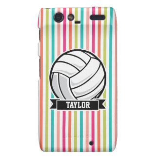 Personalized Volleyball on Colorful Stripes Motorola Droid RAZR Covers