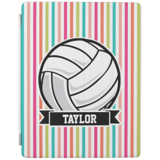 Personalized Volleyball on Colorful Stripes iPad Cover