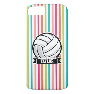Personalized Volleyball on Colorful Stripes iPhone 7 Case
