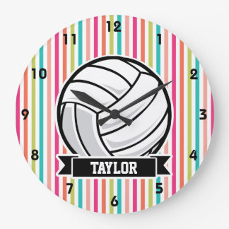 Personalized Volleyball on Colorful Stripes Large Clock