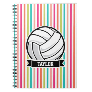 Personalized Volleyball on Colorful Stripes Spiral Note Book