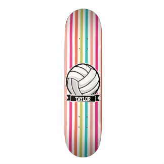 Personalized Volleyball on Colorful Stripes Skate Decks
