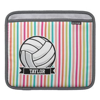 Personalized Volleyball on Colorful Stripes Sleeve For iPads