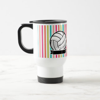 Personalized Volleyball on Colorful Stripes Travel Mug