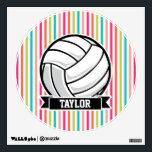 """Personalized Volleyball on Colorful Stripes Wall Sticker<br><div class=""""desc"""">Cool  sports volleyball on bright,  colorful hot pink,  lime green,  orange,  coral,  teal,  turquoise,  salmon,  and white stripes pattern.  Perfect gift for kids,  teens,  or adults! Personalized the design by adding a name or custom text.  Visit our store,  Birthday Party House,  for more great customizable boy &amp; girl products!</div>"""