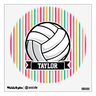 Personalized Volleyball on Colorful Stripes Wall Decal