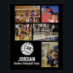 "Personalized Volleyball Photo Collage Name Team # Poster<br><div class=""desc"">This personalized volleyball photo collage poster features your favorite uploaded volleyball photos, a white volleyball graphic with your player&#39;s jersey number, and additional text such as your player&#39;s name and/or team name. This design is set against a background color of your choice - just click on customize and then the...</div>"