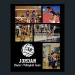 """Personalized Volleyball Photo Collage Name Team # Poster<br><div class=""""desc"""">This personalized volleyball photo collage poster features your favorite uploaded volleyball photos, a white volleyball graphic with your player's jersey number, and additional text such as your player's name and/or team name. This design is set against a background color of your choice - just click on customize and then the...</div>"""
