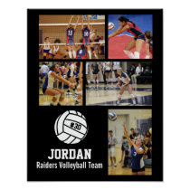 Personalized Volleyball Photo Collage Name Team # Poster