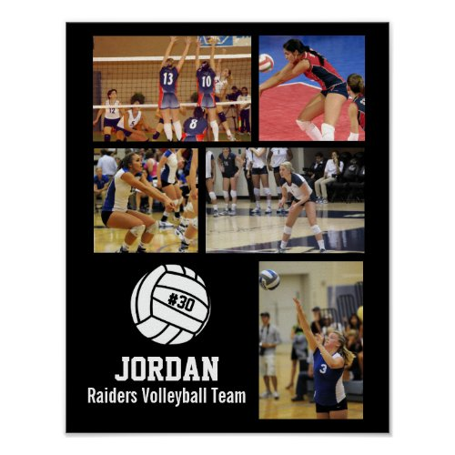 Personalized Volleyball Photo Collage Name Team  Poster