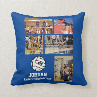Personalized Volleyball Photo Collage Name Team # Throw Pillow