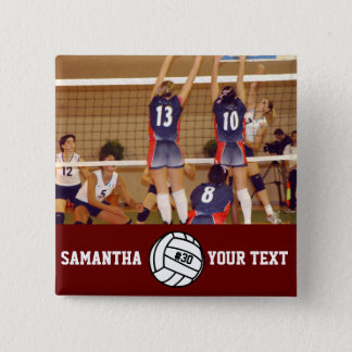 Personalized Volleyball Photo Name Team # Button