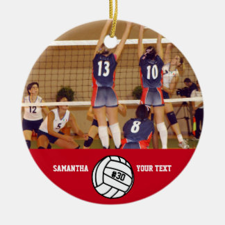 Personalized Volleyball Photo Name Team # Ceramic Ornament