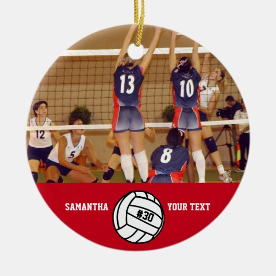 Personalized Volleyball Photo Name Team Ceramic Ornament