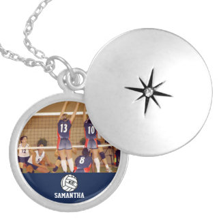 Personalized Volleyball Photo Name Team # Round Locket Necklace