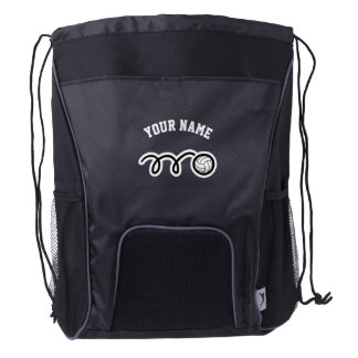 Personalized volleyball player drawstring backpack