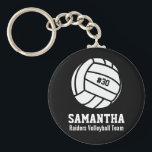 "Personalized Volleyball Player Number, Name, Team Keychain<br><div class=""desc"">This personalized Volleyball design features a black and white volleyball with your favorite player&#39;s number, name and team name. Change the background color to match your team colors - just click on customize and then the small eye dropper. This makes a great memory keepsake gift for Volleyball players, coaches and...</div>"