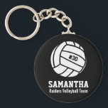 """Personalized Volleyball Player Number, Name, Team Keychain<br><div class=""""desc"""">This personalized Volleyball design features a black and white volleyball with your favorite player&#39;s number, name and team name. Change the background color to match your team colors - just click on customize and then the small eye dropper. This makes a great memory keepsake gift for Volleyball players, coaches and...</div>"""