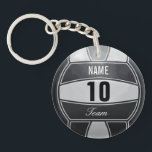 "Personalized Volleyball Sport Keychain<br><div class=""desc"">Volleyball illustration with custom name. Insert number and team. Elegant black and white,  art by Jos&#233; Ricardo</div>"