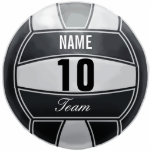 "Personalized Volleyball Sport Lover Statuette<br><div class=""desc"">Volleyball illustration with custom name. Insert number and team. Elegant black and white,  art by José Ricardo</div>"