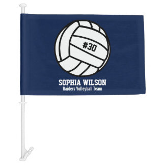 Personalized Volleyball Team, Player Name & Number Car Flag