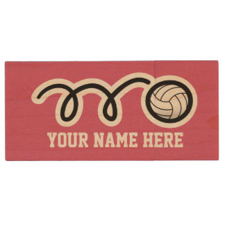 Personalized volleyball USB pendrive flash drive Wood USB 2.0 Flash Drive