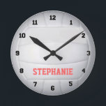 """Personalized Volleyball Wall Clock<br><div class=""""desc"""">Customize this volleyball clock by changing the player name,  font or text.</div>"""