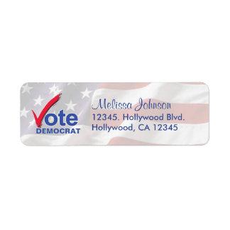 Personalized Vote Democrat Return Address Labels